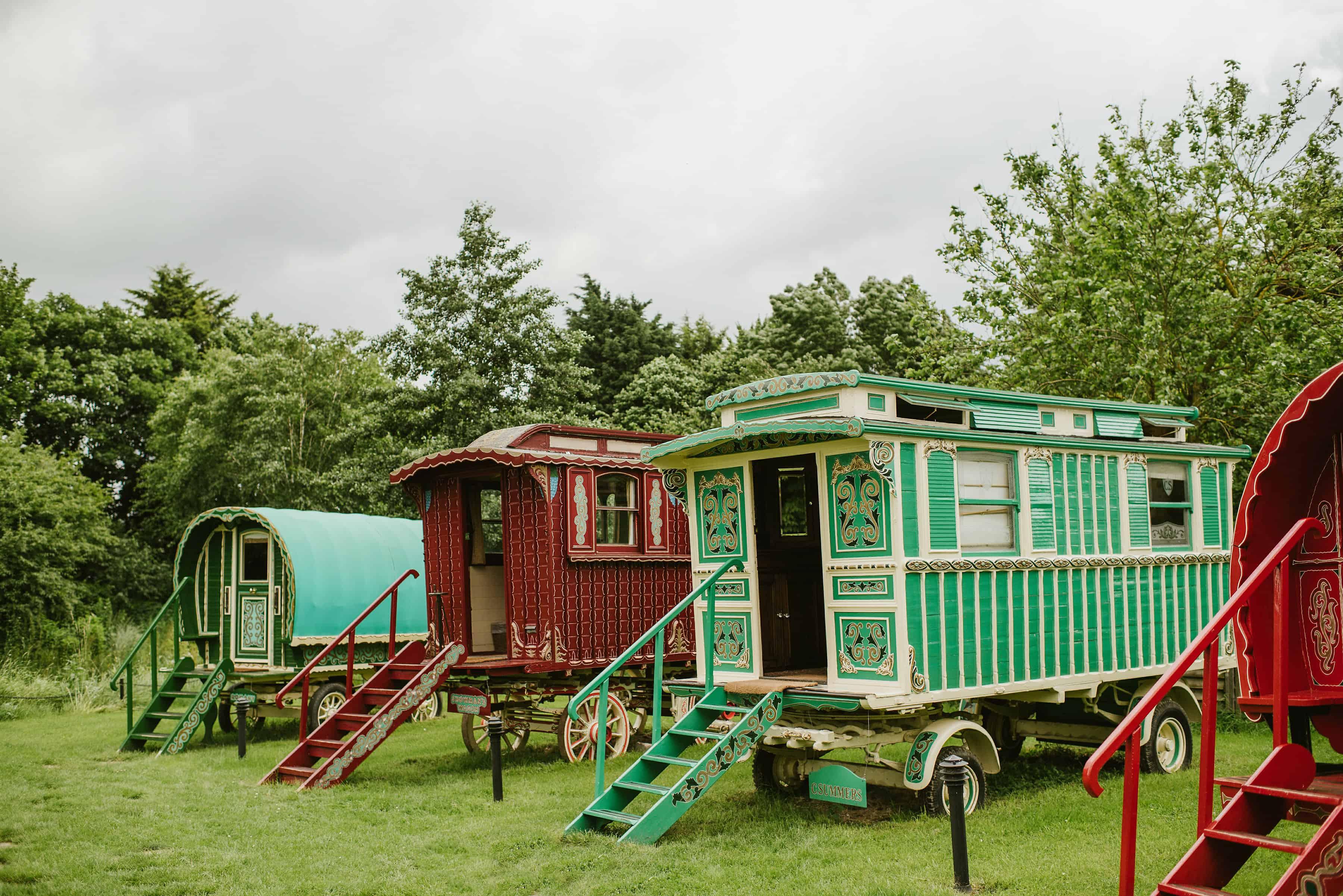 South Farm wedding venue gypsy caravans