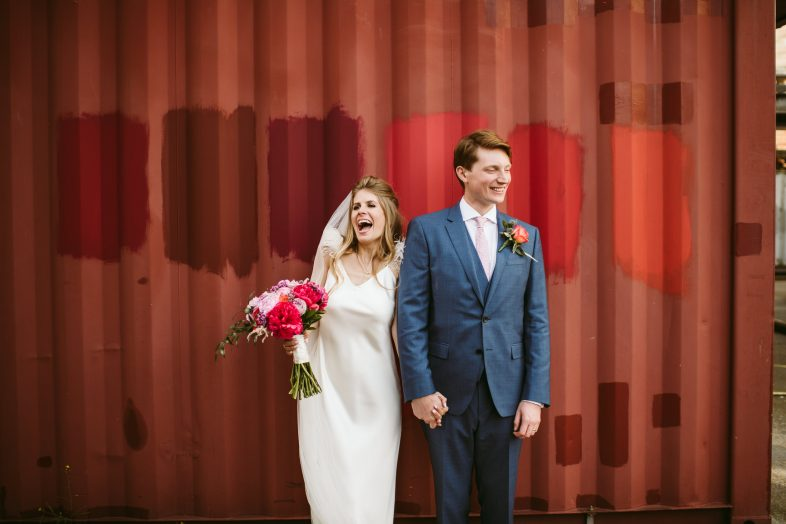 Trinity Buoy Wharf wedding photography by the containers